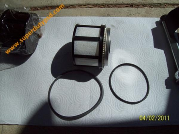 Diesel fuel filter and components.
