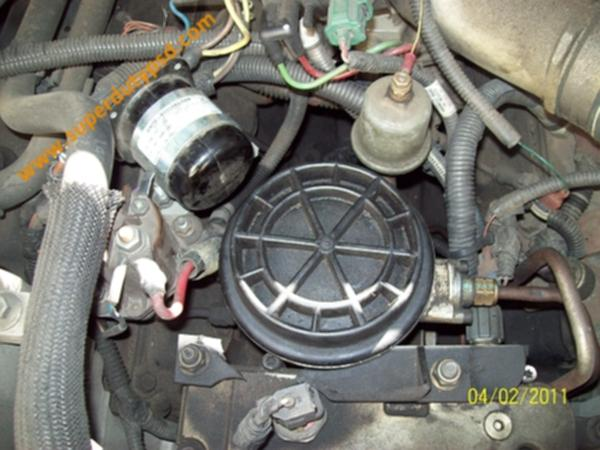 Power Stroke fuel filter housing and cap.