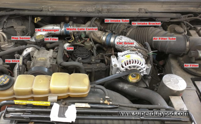 engine compartment component identification Ford F250 F350
