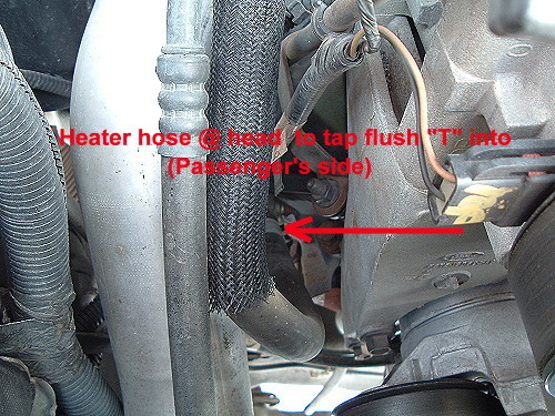 heater hose at passenger's side coming off the engine